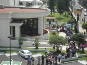 People lined up at the temple visitor's center
