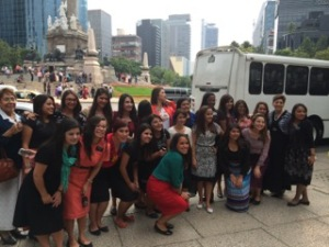 A bit of Mexico City in background of Sister Missionaries