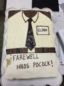 Farewell cake, with the bites taken out of it.